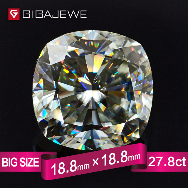 GIGAJEWE Big Size 27.8ct 18.8mmX18.8mm Cushion Cut White IJ Color Moissanite Loose Stone Gif DIY Gem Beads For Jewelry Making