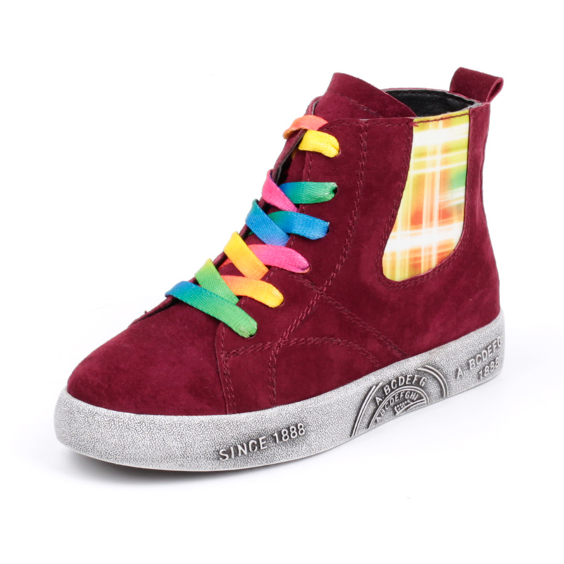 Kids Shoes Rainbow Casual Shoes Sneakers for Boys Girls Red Black Shoes Lace Up Ankle High Fur Lined Children Sneaker Size 26-37 babyfeet fashion sneakers shoes for boys girls brand white shoes size 19 26 waterproof pu leather children sneakers port shoes