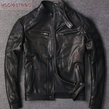 Jacket Leather Coat MAPLESTEED Spring Mens Short Black Summer Slim Tanned Boy M110 100%Natural