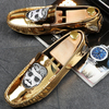 Discount 2017 Men S Shinny Gold Sliver Patent Leather Casual Shoes Embroidery Flat Driving Mocassin Wedding