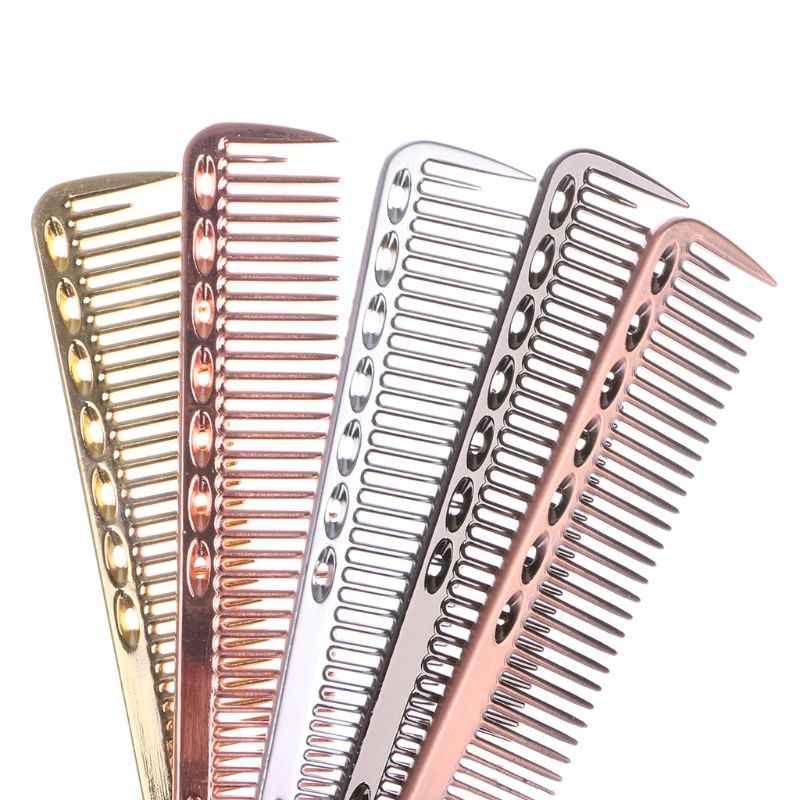 Sikat rambut Pria Wanita Aluminium Metal Cutting Sisir Rambut Tata & Tukang Cukur Salon Sisir Profesional Tukang Cukur Sikat Rambut