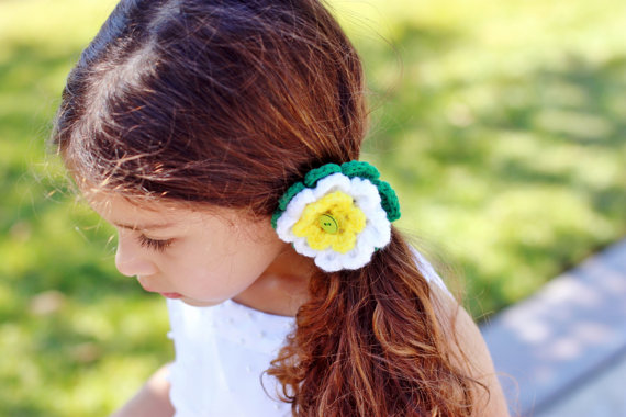 Crochet Hair Ponytail : Crochet hair tie, flower ponytail, hairtie, crochet barrette, hair ...