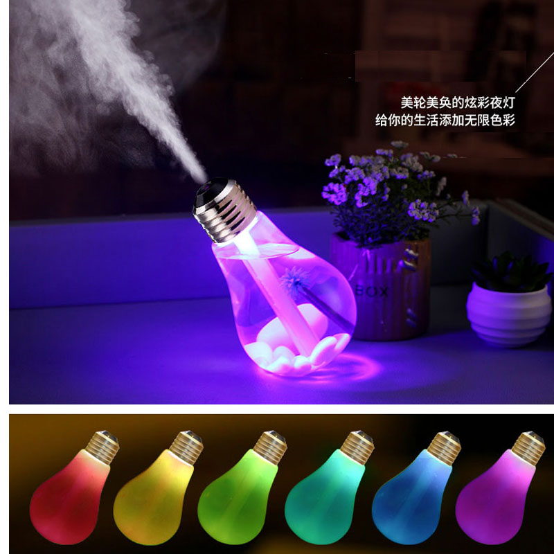 USB ultrasonic humidifier home office Mini aromatherapy colorful LED night light bulb aromatherapy atomizer creative bottle ...