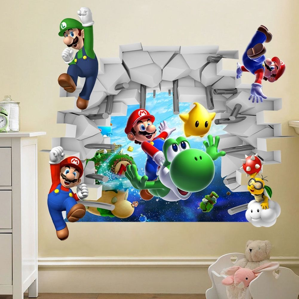 2015 kids nursery super mario bros 3d view art wall stickers decals home decor p in wall - Deco chambre mario ...