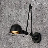 Klasyczny loft w stylu nordyckim stylu industrialnym regulowany jielde kinkiet Vintage kinkiety lampy przytwierdzone do ściany LED do salonu sypialnia łazienka