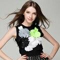 ALTA QUALIDADE de Moda de Nova 2017 Designer Top das Mulheres Grandes Flores Apliques Tanque Topo