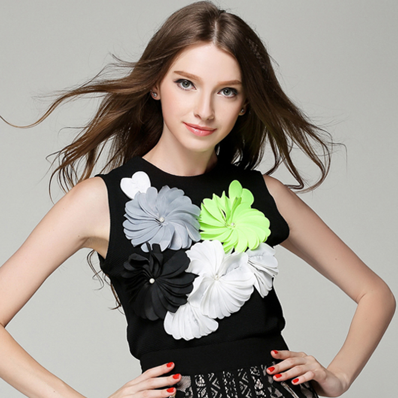 HIGH QUALITY New Fashion Runway 2018 Designer Top Women's Big Flowers Appliques Tank Tops