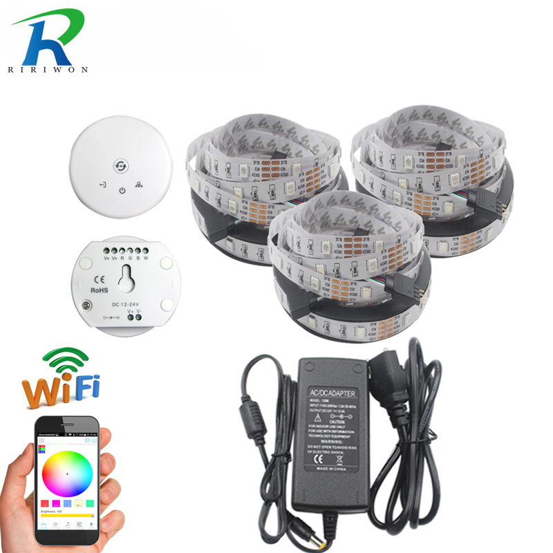 15 M 10 M 5 M WiFi RGB a mené la lumière de bande imperméable 5050 SMD 30Led/M ruban IP65 a mené la bande + contrôleur de WiFi avec le Mode de musique
