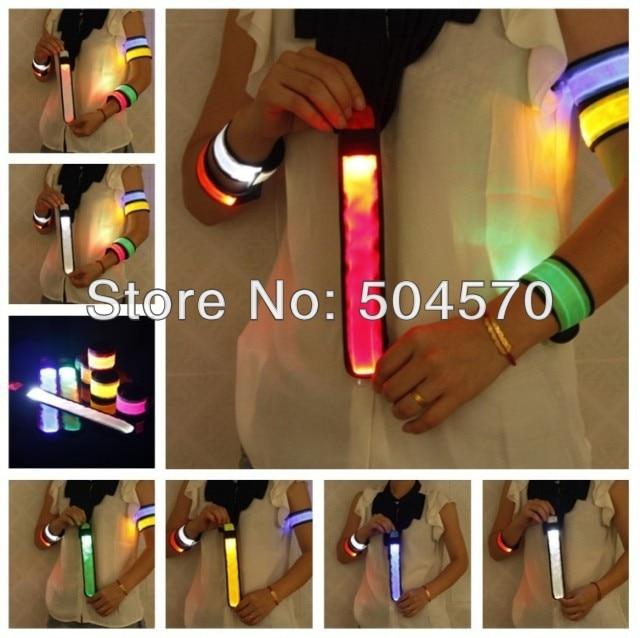 10ks / lot 35CM Vodotěsný Nylon LED Sport Jogging Pásek na zápěstí Náramek LED Zářící Armband Light Flash Hair band Party Favours