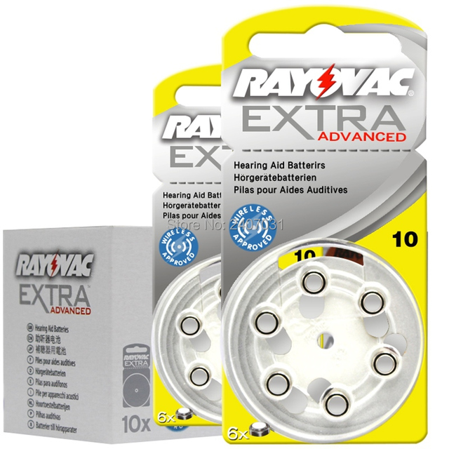 New packing 10card (60PCS) Rayovac High Performance 10/A10/PR70 1.45V Hearing Aids Zinc Air Battery Batteries Made in UK