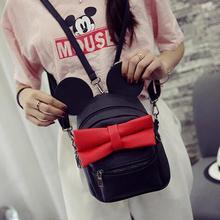 Весной новый женская сумка качества пу кожа женщины сумка Корейской версии Микки уши сладкий хит цвет лук Колледж Ветер мини-рюкзак