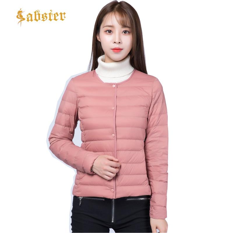 2018 Autumn Winter Women Ultra Light Down Jacket White Duck Down   Parkas   Female Tops 2 Ways To Wear Thin Short Coat XZ457
