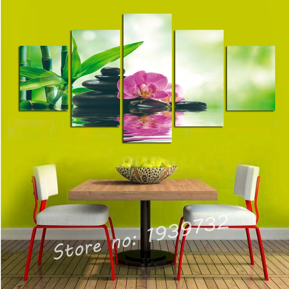 5pcs Print poster canvas Wall Art pink orchids Decoration art oil ...