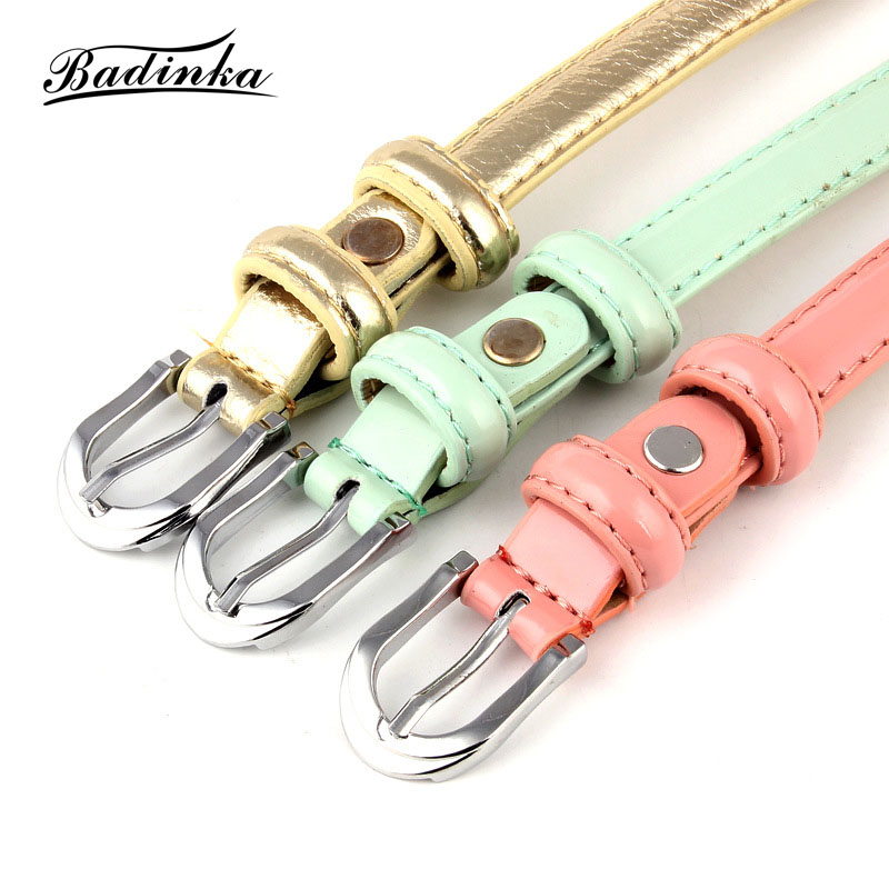 Badinak 2018 New Simple Cute Narrow Thin PU Leather Belt Female Black Silver Gold Waist Strap Belts for Women Dress Waistband