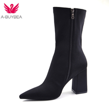 2018 Spring fashion Mid-Calf Stretch Fabric Sock Boots Women Pointed Toe High Heel Women Boots Brand Design black Boots Women new fashion thin heels woman boots sexy pointed toe stretch fabric mid calf boots 2017 high heel boots casual boots black