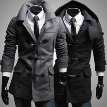 2016 Limited Special Offer Hooded Knitted Half Plaid Winter Fashion Detachable Hat Male Outerwear Slim Wool Coat Men's Clothing