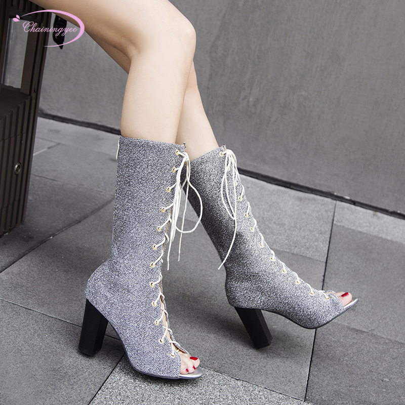 European street style sexy peep toe summer boots sandals fashion lace-up paillette silver red black high-heeled chunky women's s