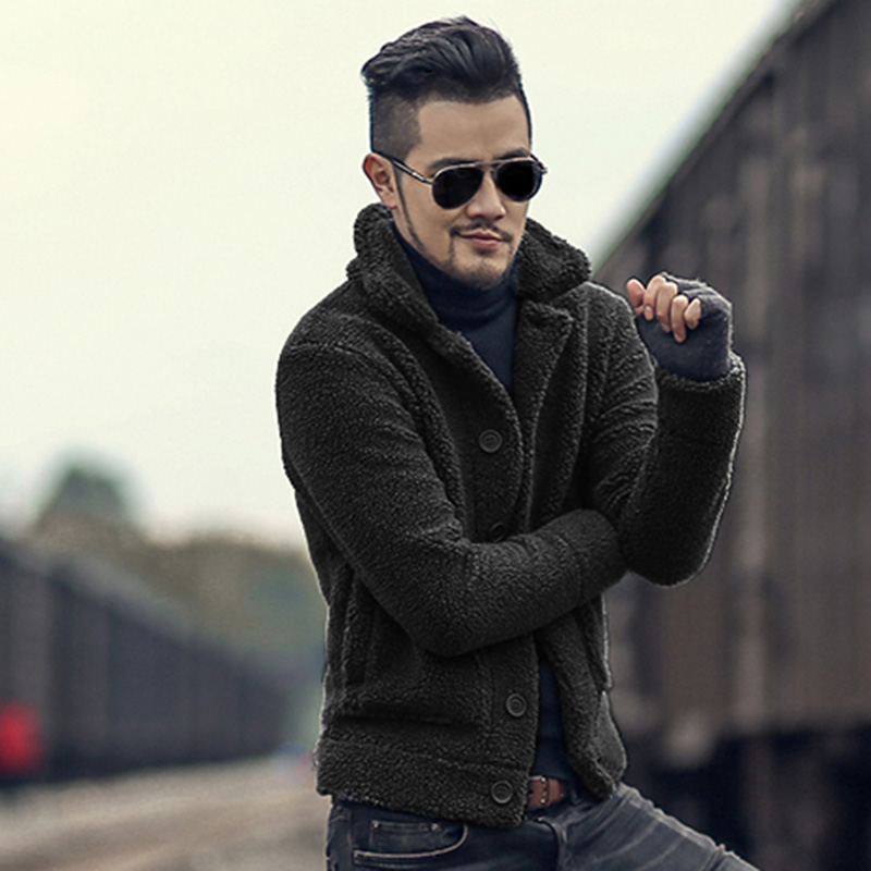 2017 Mens Winter warm padded furry slim