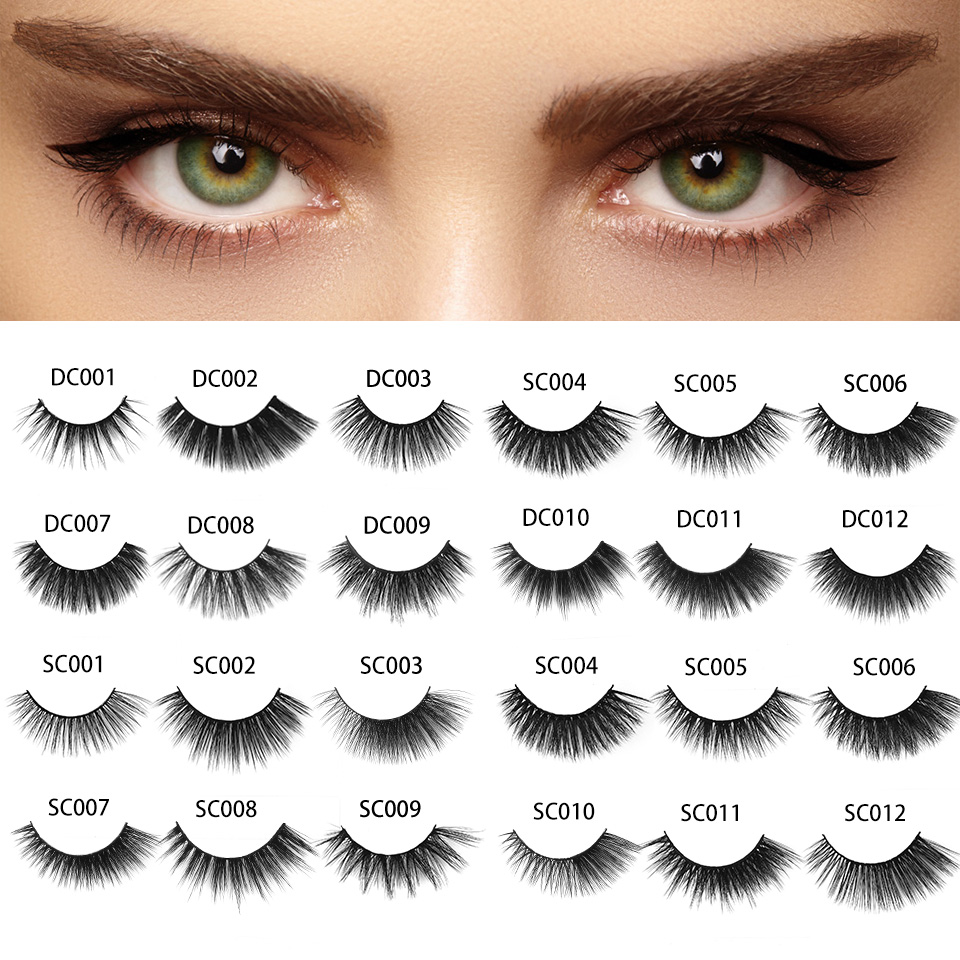 NEWCOME 24 Styles 3D 6D False Mink Eyelash Full Strip Eye Lashes Handmade Soft Eyelashes Think Cross Eyelash Extension Makeup