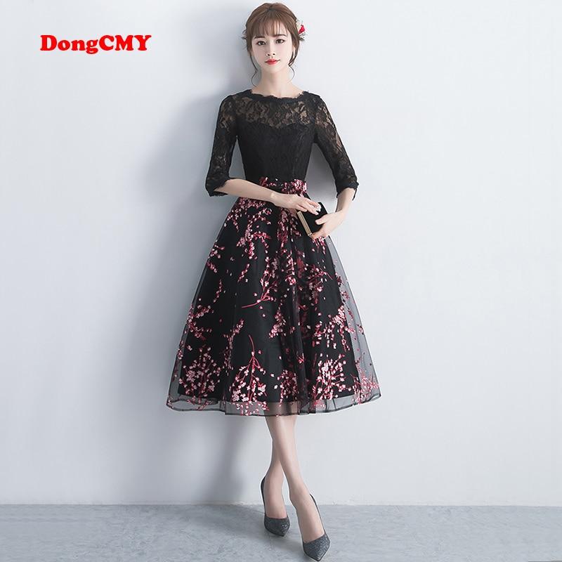 Dongcmy vestido curto elegante preto, vestido de