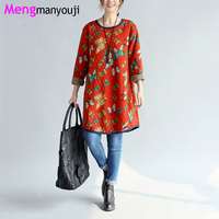 Winter Autumn Women Thick Dress M XL Butterfly Pattern O Neck Indie Folk Pockets Casual Loose