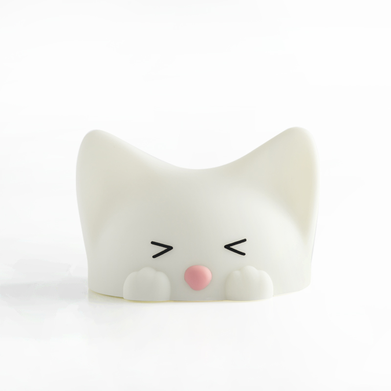 Silicone Flapping cat LED night light 7 color for baby kids dimming lamp