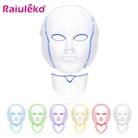 Led Mask 7 Colors Photon Electric LED Facial Mask with Neck Skin Rejuvenation Anti Acne Wrinkle Beauty Treatment Salon Home Use