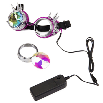 Steampunk Goggles Welding Rivet Illuminate Punk Goggles Retro Gothic kaleidoscope Colorful Lens Cosplay Eyewear 1