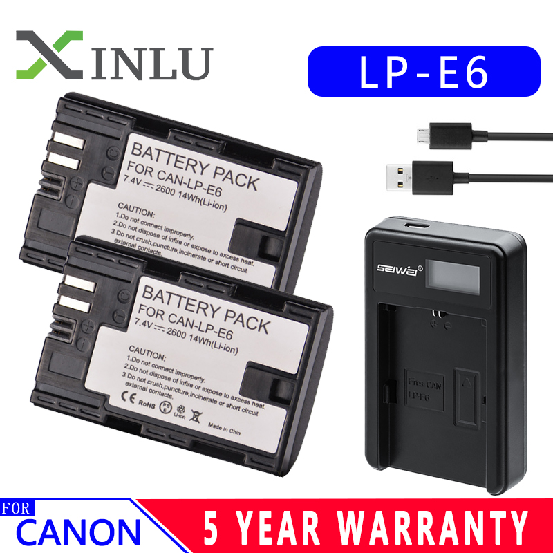 LP-E6 E6 2600mAh Digital Camera Battery + USB Charger For Canon LP E6 EOS 5D Mark II 2 III 3 6D 7D 60D 60Da 70D 80D DSLR EOS 5DS