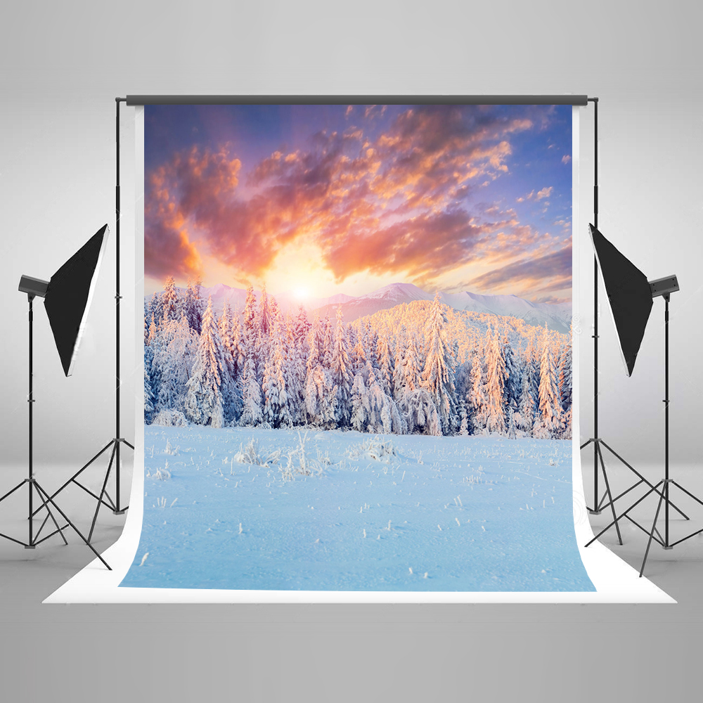Kate 10x10ft Winter Photography Backgrounds Snow Tree Studio Photography Christmas Sunset Wrinkle Free Photography Backdrop 10x10ft kate spring scenery photography