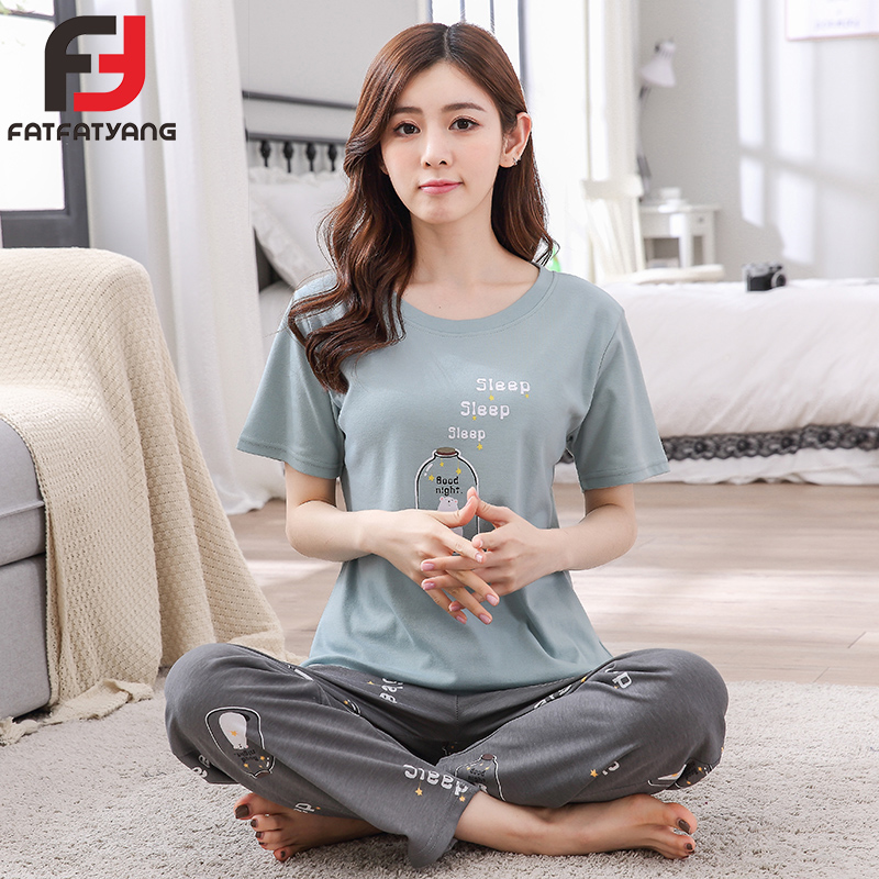 Women Casual Pajamas Sleepwear Cotton O-Neck Short Sleeve Cartoon Print Home Clothes Pijama Unicornio Adult Suit Pants Homewear