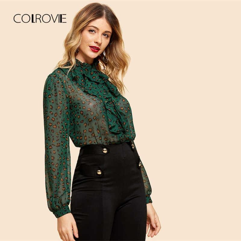 d4adb24fd5a179 ... COLROVIE Green Leopard Print Ruffle Elegant Vintage Feminine Blouse  Shirt 2018 Sexy Long Sleeve Blouse Women ...
