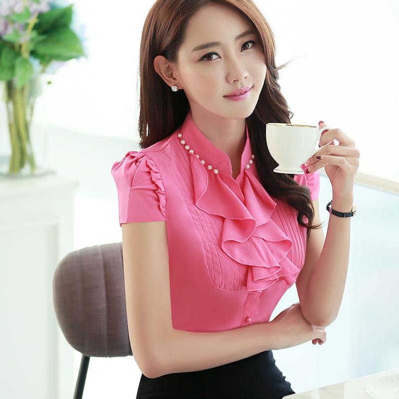 blusas de chiffon de vero mulheres moda elegante vermelho camisas do desgaste do trabalho feminino estilo