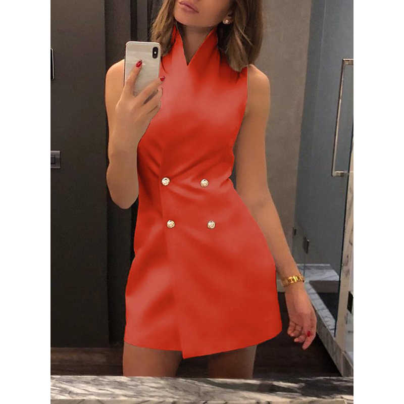 Women Casual Summer Sexy Stand Collar Slim Buttons Dress Office Ladies Sleeveless Solid Vestidos Elegant Formal Dress SJ2243E