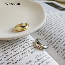 WFSVER 925 sterling silver ring for women korea style gold color Curved fashion rings Opening adjustable fine jewelry gift wfsver ins minimalism smooth wide face opening adjustable rings for women 100% top quality 925 sterling silver fashion jewelry