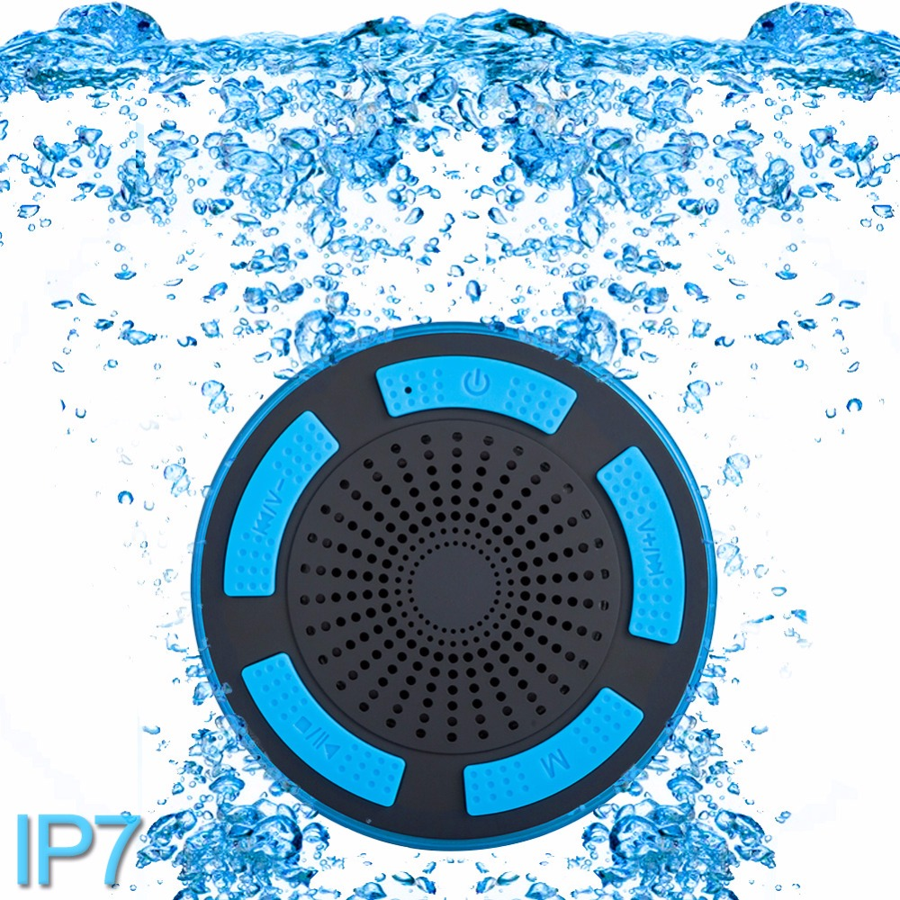 5W IPX7 Waterproof Subwoofer Shower Bluetooth speaker with Sucker Portable stereo wireless speaker Bluetooth with Suction Cup