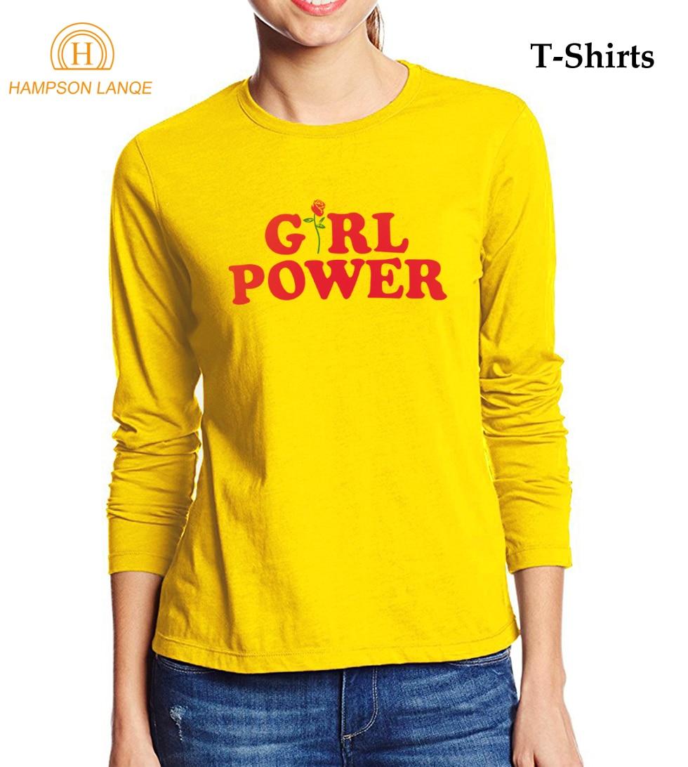 HAMPSON LANQE Girl Power & Rose Printed Sexy T Shirts 2017 Summer Autumn Punk T-Shirt Women Long Sleeve T Shirt Casual Tops Tees