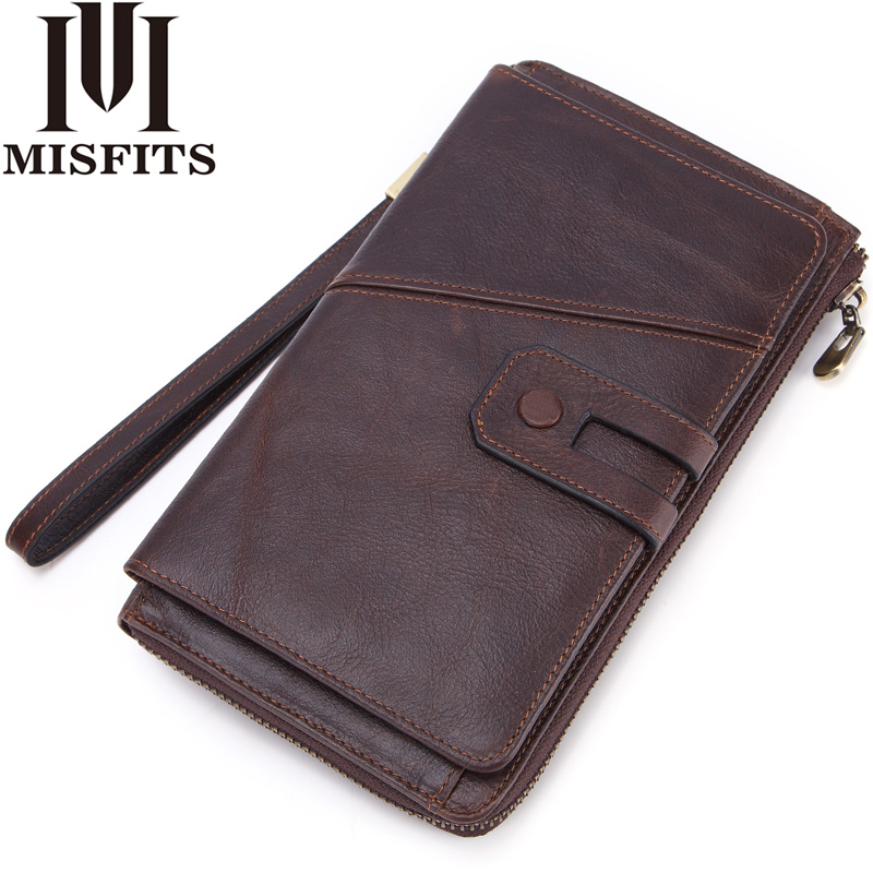 MISFITS Men Clutch Wallet Genuine Cow Leather Casual Long Wallet Brand Luxury Zipper Purses Card Holder For Male Phone Pocket