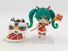 Anime Hatsune Miku Lion Dance Ver. Nendoroid PVC Figure Collection Toy 4'' цены