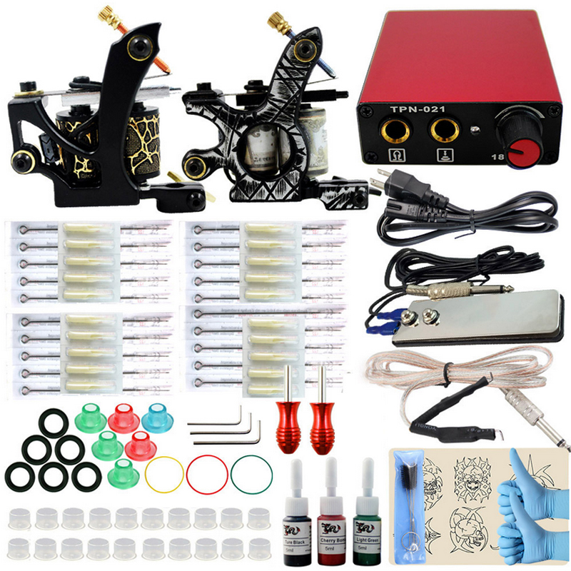 Complete 10 wrap coils tattoo kit 2 guns machines 3 ink sets power supply Cord Kit Body Beauty Tool Tattoo Tips Tattoo kits professional tattoo kits liner and shader machines immortal ink needles sets power supply