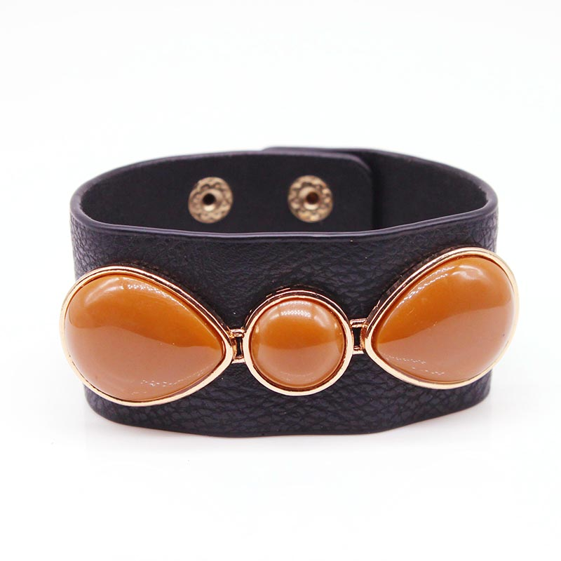 New Women European Wide Leather Bangles With Acrylic Beads Simple All-Match MS OL Word Wide Leather Bracelet New Hand Jewelry