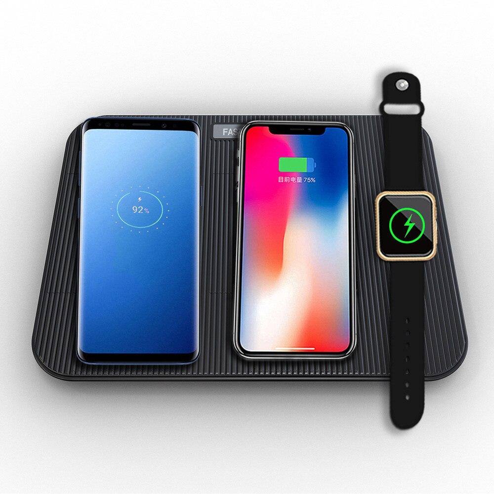 Chargeur sans fil samsung s9 pour IPhone XS Max 4 en 1 chargeur rapide sans fil chargeur rapide Pad et chargeur rapide léger z85