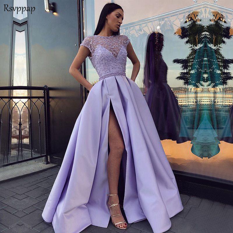 Long Evening Dresses 2018 Gorgeous Sexy High Slit abendkleider Dubai Top Pearls Arabic Style Light Purple Formal Evening Gowns