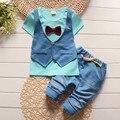 BibiCola малышей мальчики лето джентльмен комплектов одежды лук 2 шт. детская одежда детей спортивный костюм спортивный костюм с коротким рукавом мундир