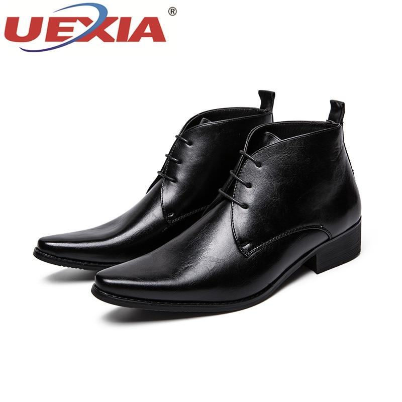 Top En Hommes automne Bottes brown Uexia Casual Printemps Cuir Black Luxe Mode Haute Qualité Confortable Chaussures Nouveau De Appartements Marque H29IED