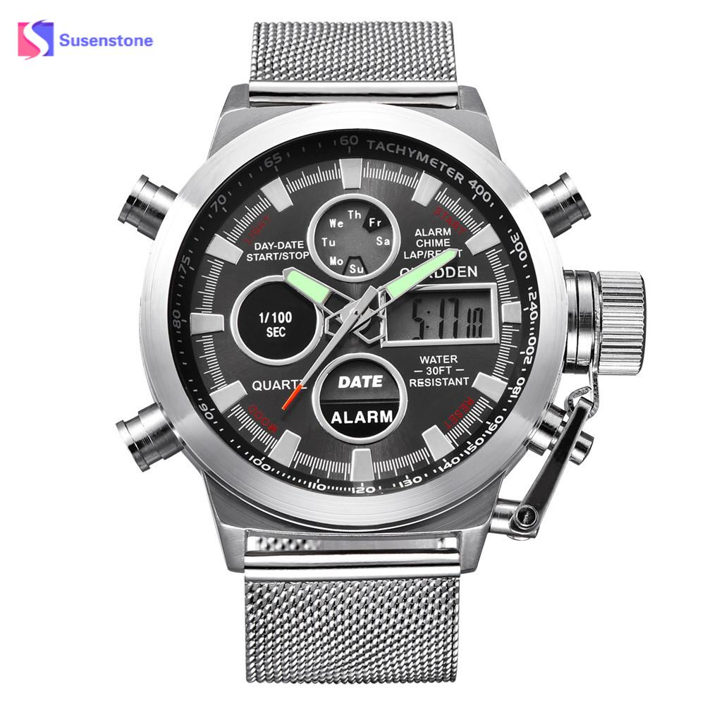 Men's Watch Mens Luxury Business Wrist Watches Luminous Pointer Dual Time LED Digital Analog Quartz Movt Steel Band Watch Clock iron man digital led steel band digital quartz wrist watch for man