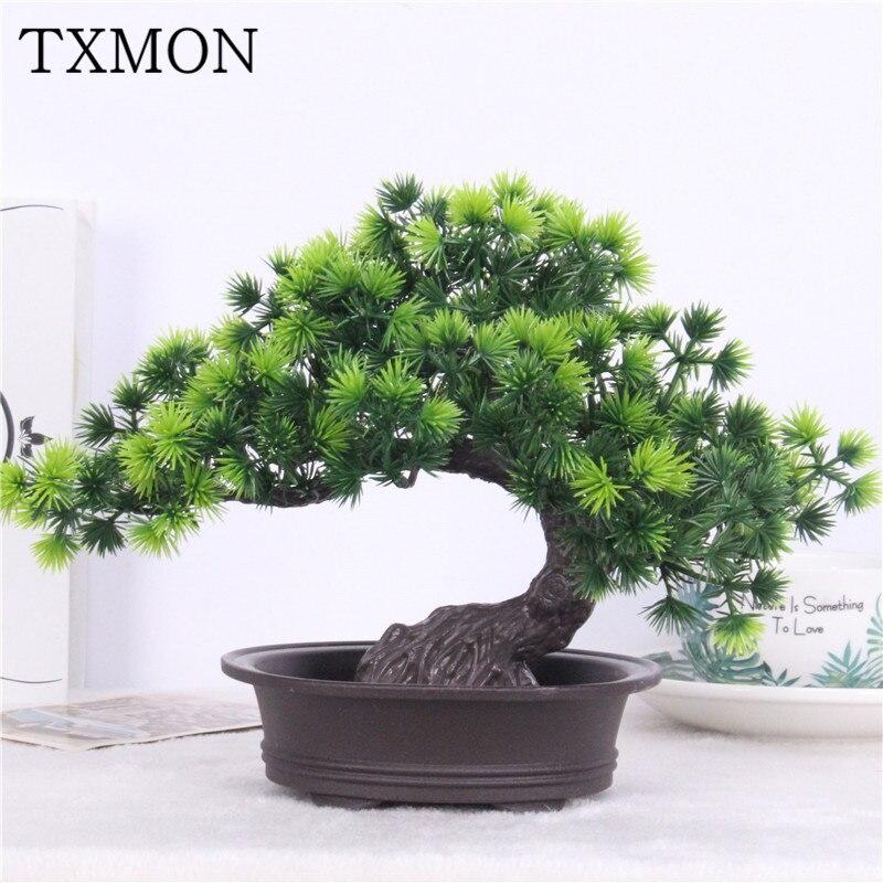 Simulación de bonsai adornos árbol falso maceta grande bienvenida Pino falsos de plástico planta de simulación de la decoración de interiores