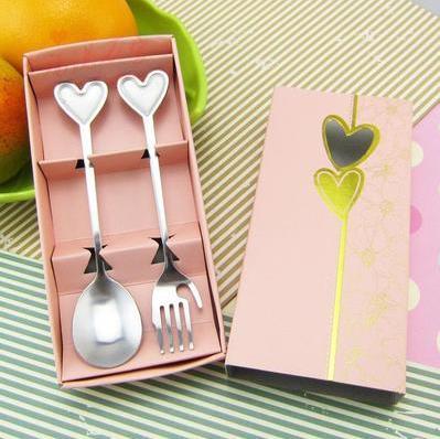 Кухня столовая посуда столовые сервизы с принтом сердца и смайлика вилка и ложка из нержавеющей стали для свадебного подарка 10 комплектов в каждом из компл./лот - Цвет: F
