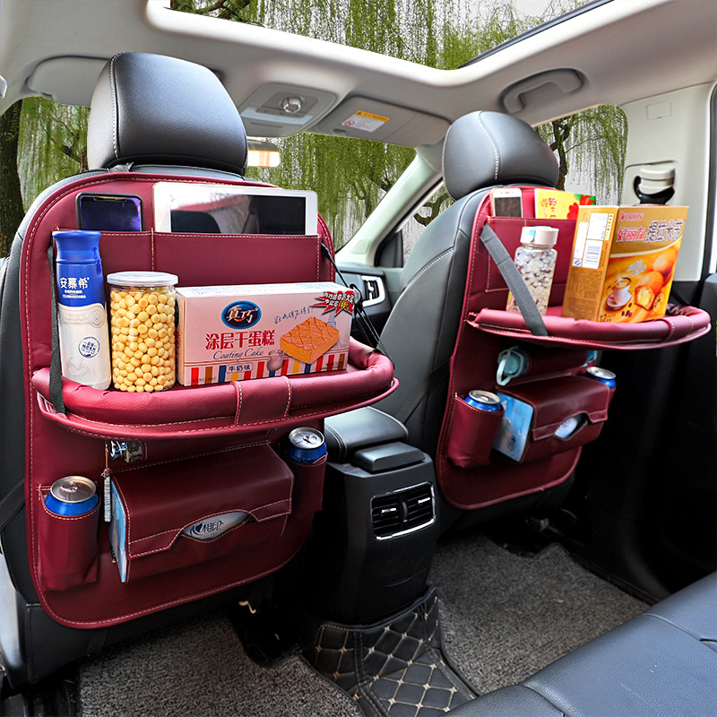 New Baby Car Storage Bag Hanging Universal Auto Multi-pocket PU Organizer Bag Leather Pad Car Ceat Shopping Cover