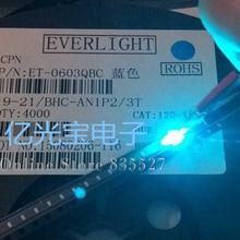 4000 шт./лот, светодиоды 0603 / 1608 SMD, яркие, маленькие, ледяные/светло голубые, длина волны 485нм, светодиоды, светоизлучающие диоды